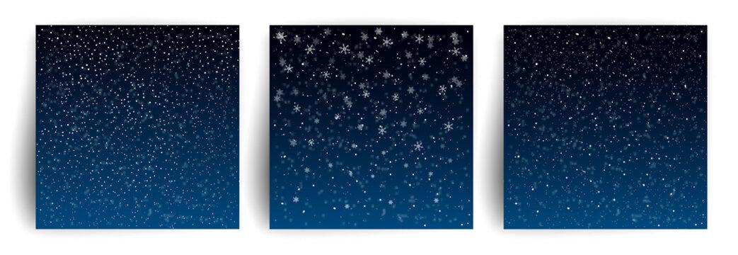 Snow background. Set of Christmas Greeting card design template for flyer, banner, invitation, congratulation. Christmas background with snowflakes. Vector illustration.