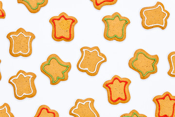 Decorated gingerbread cookies isolated on white background