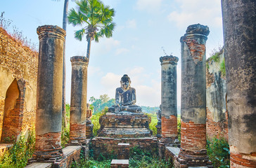 The ruins of Image House in Yadana Hsemee Pagoda in Ava, Myanmar