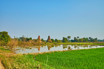 The landscape with ancient stupas, Ava, Myanmar