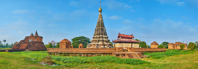 Panorama of archaeological landmarks of Ava, Myanmar