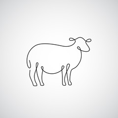 One line sheep design silhouette