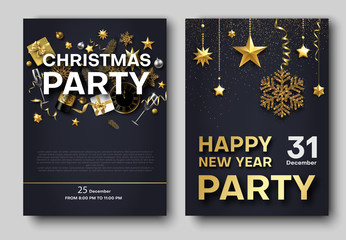 Christmas and New Year party poster or invitation templates.