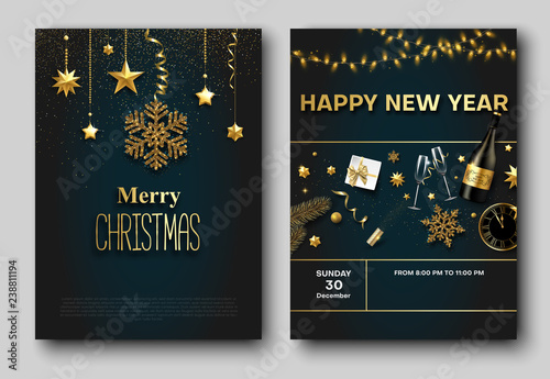 merry christmas and new year party poster or invitation templates
