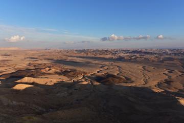 Sunset in the Negev desert, panoramic view on Makhtesh Ramon. Israel 2018