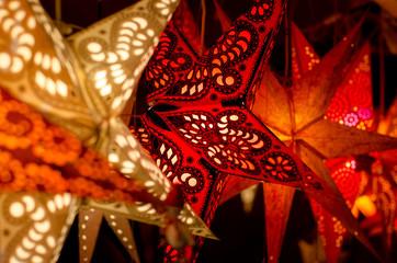 LED light christmas paper star decorations.