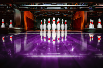 bowling alley. pins