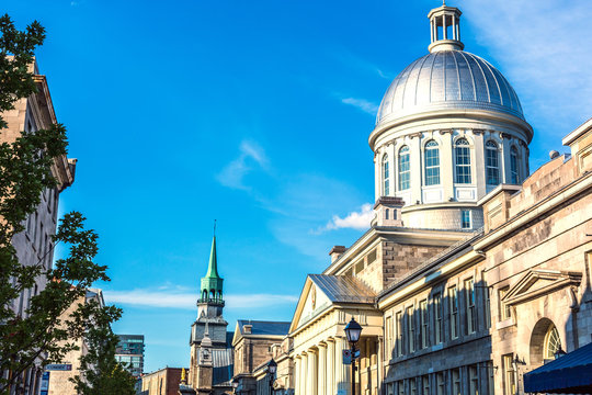 The Montreal city downtown in a blue sky summer day in Canada