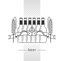 Brewery label, craft beer, alcohol shop, pub sign. Vector icon with beer bottle, wheat and ribbon. Isolated elements on white background.