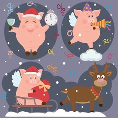Illustration of small funny piggy and deer for New Year holidays. Almost all elements can be changed