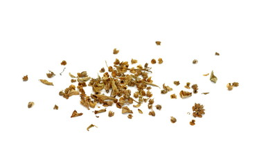 Dried natural basil spice (Ocimum basilicum). Pile of dried basil seasoning isolated. Dried basil leaves and buds, a common spice in Mediterranean and Asian cuisine.