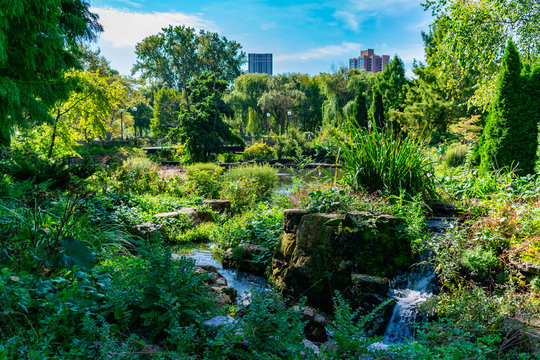Green Summer Scene with Bridge and Water at the Lincoln Park Zoo in Chicago