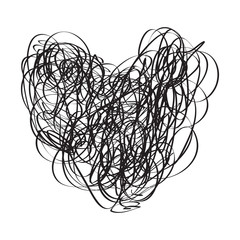Tangled heart on white. Chaos pattern. Scribble sketch. Background with array of lines. Intricate chaotic texture. Black and white illustration. Doodle for poster or flyer