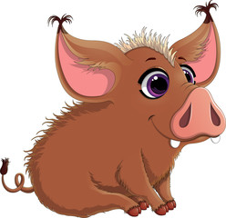 Vector illustration of funny pig with big ears. Pretty pig cartoon with violet eyes isolated on white background. Pig cartoon character