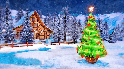 Wall Mural - Outdoor Christmas tree decorated by luminous star and lights garland against cozy alpine house and snow covered fir trees at winter night. Digital art watercolor painting.