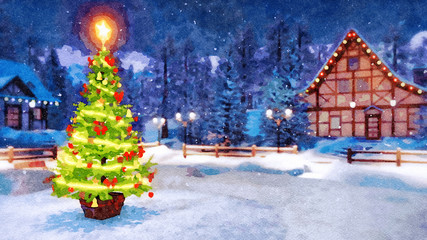 Wall Mural - Outdoor Christmas tree decorated by luminous star and lights garland with blurred rural landscape on background at snowy winter night. Digital art watercolor painting.