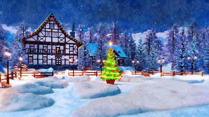 Fototapete - Winter landscape in watercolor - snowbound mountain town with illuminated half-timbered house and decorated Christmas tree at magical wintry night. Digital art painting.