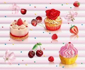 Wall Mural - Capcake and berry cherry raspberry strawberry