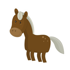 Cartoon animal horse on white background - illustration for children