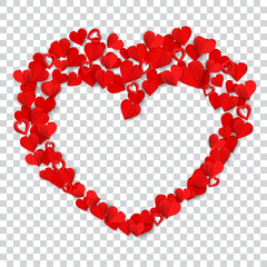 Big heart consisting of many small red paper hearts on transparent background