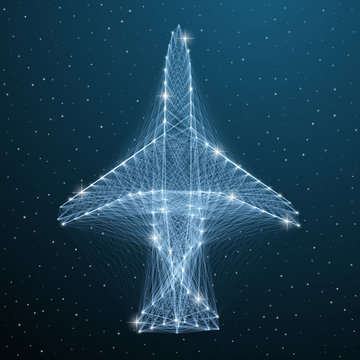 Airplane line wireframe travel transport. Abstract aircraft top view polygonal flight plane on blue star sky. Vector digital low poly geometry airplane concept.