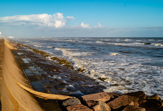 Seawall at Galveston, Texas on the Gulf of Mexico
