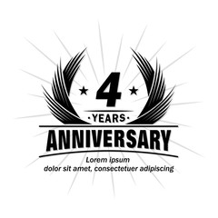 4 years design template. Anniversary vector and illustration template.