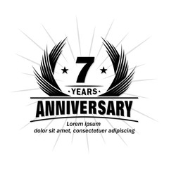 7 years design template. Anniversary vector and illustration template.