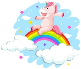 A happy unicorn on rainbow