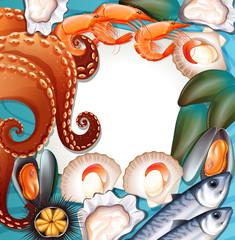 Set of fresh seafood