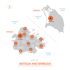 Stylized vector Antigua and Barbuda map showing big cities, capital St. John's, administrative divisions.