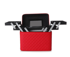 Stylish case for makeup products on white background