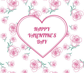 Happy Valentine`s day card. Pink and green design frame with roses. Vector illustration.