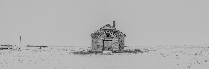 Abandoned White Church on a White Snowy Day