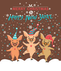 Christmas postcard with three pigs. Very cute pigs in holiday caps dance and rejoice in falling snow. Cute illustration with cartoon pigs. Merry Christmas and Happy New Year! Year of the Pig 2019.