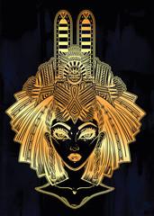 Egyptian woman with beautiful ritual head piece.