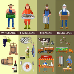 Set of people of different professions