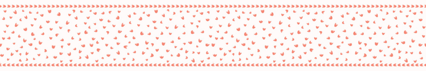 Peachy Living Coral Petal Blooms Border Vector. Floral Seamless Repeating Banner Background. Hand Drawn Random Ditsy Dotty Fashion Print, Ribbon Trim, Washi Tape, Stationery, Kids Decor Packaging.