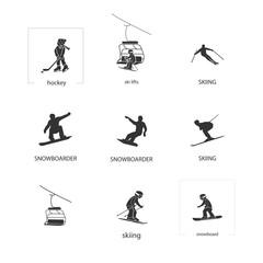 Extremal winter sports icon set