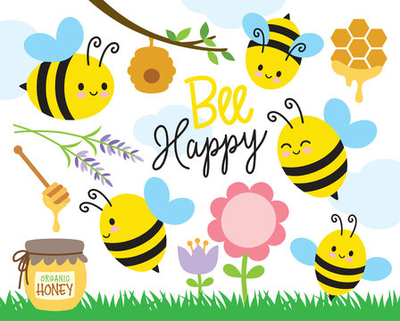 Vector illustration of cute bees and honey.