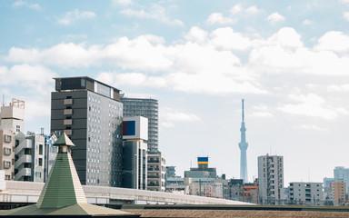 Modern buildings and tower in Tokyo, Japan