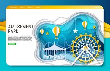 Vector paper cut amusement park landing page website template