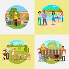 People on bbq party vector flat illustration