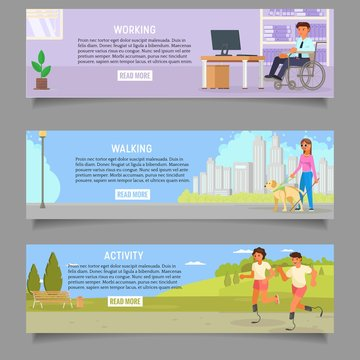 Disabled people vector web banner template set