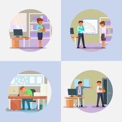 Fired people icon set vector flat illustration