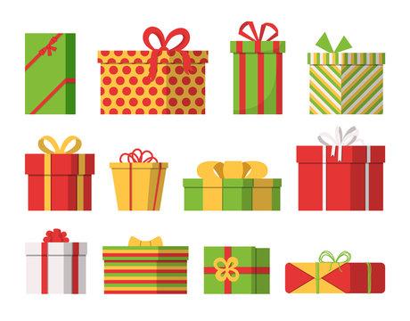 Set of Christmas gift boxes. Isolated on white background. Flat design. Vector illustration.