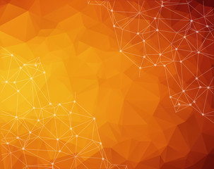 Abstract polygonal Dark orange background. Triangular tech background with connections. Vector illustration.
