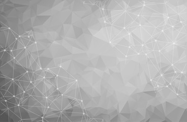 Abstract polygonal Gray background. Triangular tech background with connections. Vector illustration.
