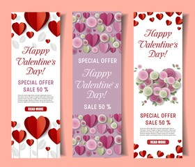 Vector paper cut Valentines day special offer banner set