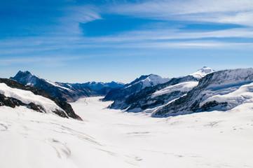 Panoramic view of  .Jungfrau Aletsch Bietschhorn glacier top of Europe, Switzerland